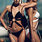Women's Straped Bikinis / One-pieces , Solid / Bandage Wireless / Padded Bras Polyester White / Black 3204