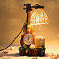 Creative Wood The Violin with Clock Pen Container Decoration Desk Lamp Bedroom Lamp Gift for Kid 3204