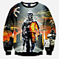 Men's Long Sleeve Hoodie  Sweatshirt,Polyester Print 3204