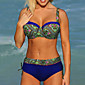 Women's High Waist Padded Push Up Underwire Sexy Floral Print Bikini 3204