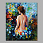 Sexy Beauty Back Among Floral Painting Canvas Handamde Knife Impression Style Framed 3204