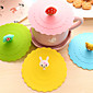 Dia 11cm Various Cartoon Animal Silicone Cup Cover Creative Color Mug Cap Drinkware (Random Color) 3204