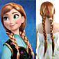 24 inch Women Long Straight Synthetic Hair Wig Cosplay Hair Braid Anna Brown Mix White 3204