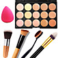 1PCS 15 Colors Professional Natural Contour Face Cream/Facial Concealer Makeup Palette1 Contour Brush1 Powder Puff 3204