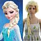24 inch Women Long Straight Synthetic Hair Wig Cosplay Hair Braid Elsa Beige 3204