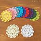 36Pcs Handmade DIY Flower Crochet Cup Pads Round Retro Cotton Table Mat Placemat 3204