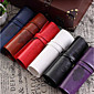 Retro Leather Pencil Roll Pencil Makeup Bag Stationery 3204