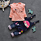 Girl's Cotton Spring/Autumn Casual Long Sleeve Ruffle T Shirt And Overalls Denim Rompers Two-piece Set 3204