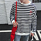 Men's Striped Casual SweatshirtCotton Long Sleeve Blue / Brown / Gray 3204