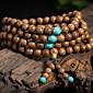 1088mm Natural Sandalwood Buddhist Wenge Prayer Beads Bracelet Weed Turquoise Bangle Women Men Jewelry Wholesale 3204