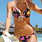 Women's Halter Bikini,Floral Polyester Black 3204