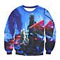 Men's Print Casual / Work SweatshirtCotton Long Sleeve Blue / Multi-color 3204