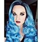 Pastel Silver Blue Ombre Wig  Long Curly Hair Side Bangs Ombre Colored Fashion Wig High Quality 3204