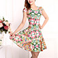 Hot Sale  Women's Vintage / Street chic Floral Plus Size / Sheath Dress,Round Neck Above Knee Cotton / Polyester 3204