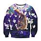 Men's Print Casual / Work Sweatshirt,Cotton Long Sleeve Blue 3204