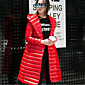 Women's Long Down Coat,Street chic Casual/Daily Solid-Nylon White Duck Down Long Sleeves Hooded 3204