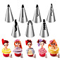 7PCS Stainless Steel Russian Nozzles Pastry Bobbi Skirt Cake Nozzles Decoration Piping  Wedding Cake Decorating Icing 3204