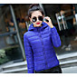 Women's Short Down Coat,Street chic Casual/Daily Plus Size Solid-Polyester White Duck Down Long Sleeves Hooded 3204