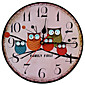 1PC  New European Style Vintage Creative Forest Owl Round Wood Wall Clock Quartz Bracket Kitchen Clocks Decoration Decor 3204