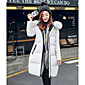 Women's Long Down Coat,Street chic Casual/Daily Solid-Polyester White Duck Down Long Sleeve Hooded Black / Gray 3204
