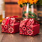 12 Piece/Set Red Laser Cut Floral Favor Box With Ribbon 3204
