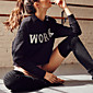 Women's Casual/Daily Sports Sexy Simple Sweatshirt Letter Crew Neck Micro-elastic Cotton Long Sleeve Fall Winter 3204