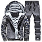 Men's Plus Size Sports Casual/Daily Street chic Hoodie Jacket Color Block Patchwork Fleece Lining Micro-elastic Cotton PolyesterLong 3204