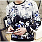 Men's Going out / Casual/Daily Street chic Regular Hoodies,Floral Blue / Black Round Neck Long Sleeve Cotton Spring Medium Micro-elastic 3204