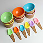 Children's Plastic Ice Cream Bowls Spoons Set Durable ICE Cream CUP (Random Color) 3204