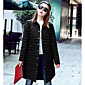 Women's Long Down Coat,Street chic Casual/Daily Solid-Cotton Polypropylene Long Sleeve Shirt Collar Pink Black Gray Green 3204