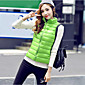 Women's Short Down Coat,Street chic Plus Size / Casual/Daily Solid-Polyester White Duck Down Sleeveless Stand Pink / Red / Green 3204