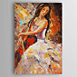 Hand-Painted  a Girl With Guitar  Canvas Oil Painting With Stretcher For Home Decoration Ready to Hang 3204