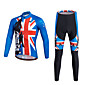 Sports Cycling Jersey with Bib Tights Men's Long Sleeve BikeBreathable Quick Dry Moisture Permeability 3D Pad Reflective Strips 3204