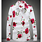 Men's Daily Casual Spring Fall Shirt,Floral Classic Collar Long Sleeves Cotton Thin 3204