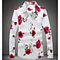 Men's Cotton Slim Shirt - Floral Classic Collar / Long Sleeve 3204