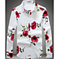 Casual/Daily Simple Fall Shirt,Floral Tab Collar Long Sleeve White Black Cotton Thin 3204