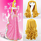 Movie Sleeping Beauty Princess Aurora Long Curly Golden Anime Cosplay Costume Wig High Quality Wave Party Wigs Hair 3204
