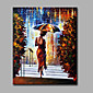 Hand-Painted Abstract The Woman In The Walk In The Rain  Modern Classic One Panel Canvas Oil Painting For Home Decoration 3204