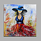 Hand-Painted Abstract Girl Wearing Straw Hat Oil painting Ready To Hang Modern One Panels Canvas Oil Painting For Home Decoration 3204