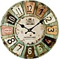 Artistic Silent Retro Creative European Style Round Colorful Vintage Rustic Decorative Antique Wooden Home Wall Clock 3204