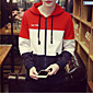 Men's Sports Hoodie Color Block Round Neck strenchy Cotton 3204