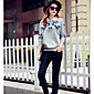 Women's Casual/Daily Sweatshirt Color Block Shirt Collar Micro-elastic Cotton Long Sleeve Fall Winter 3204