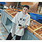 Men's Daily Hoodie Solid Striped Hooded Micro-elastic Cotton Long Sleeve Spring 3204