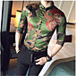 Men's Daily Casual Spring Fall Shirt,Print Button Down Collar Long Sleeves Silk Thin 3204