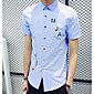 Men's Daily Simple Fall Shirt,Print Letter Shirt Collar Long Sleeve Cotton Others 3204