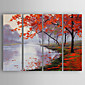 Hand-Painted Decoration Landscape of set 4 Oil Painting With Stretcher For Home Decoration Ready to Hang 3204