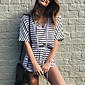 Women's Daily Casual Vacation Street Simple Classic Style Casual Hin Thin Slim Spring Summer T-shirt Pant SuitsStriped Color Block V Neck Length 3204