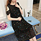 Pregnant Woman Wear Fashionable Printing The Dew Shoulder Chiffon With Short Sleeves  Dress 3204