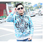 Men Daily Hoodie Print Hooded Micro-elastic Cotton Long Sleeve Fall 3204