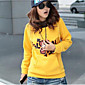 Women's Casual/Daily Simple Hoodie Solid Color Block Hooded Micro-elastic Cotton Long Sleeve Winter 3204